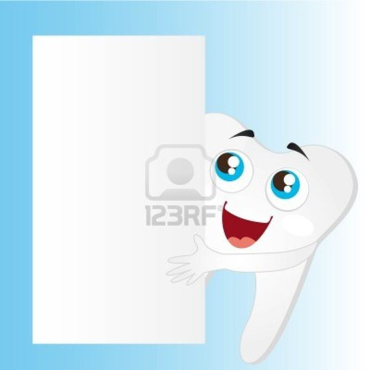 tooth cartoon with blank advertising vector illustration