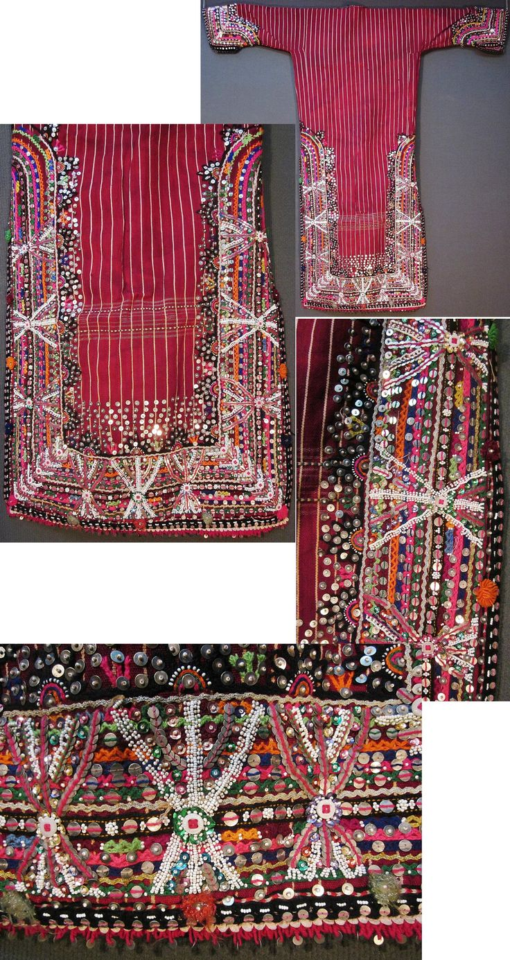 The rear of a 'dokuma işli üçetek' (handwoven and worked robe-with-three-panels) from the Pomak villages near Biga (Çanakkale province), mid-20th c.  Handwoven woollen fabric, adorned with cotton embroidery, silver and gold zigzag ribbons, sequins (metallic & mica), small glass beads, (cotton or orlon) pom-poms, buttons.  (Inv.nr. üçe021  - Kavak Costume Collection - Antwerpen/Belgium).