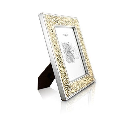 "From 9.99 Gold Photo Frame - 5x7"" Frame Glitter Mosaic - Glass Front - With Picture Mount For 6x4 Photo - 4cm Edge Width - Sparkling Gold"