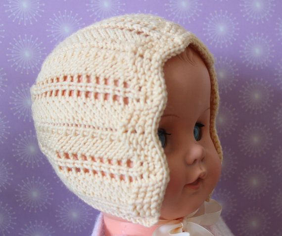 Yellow Baby Bonnet Wool Baby Bonnet Lacy Baby Hat by Pinknitting