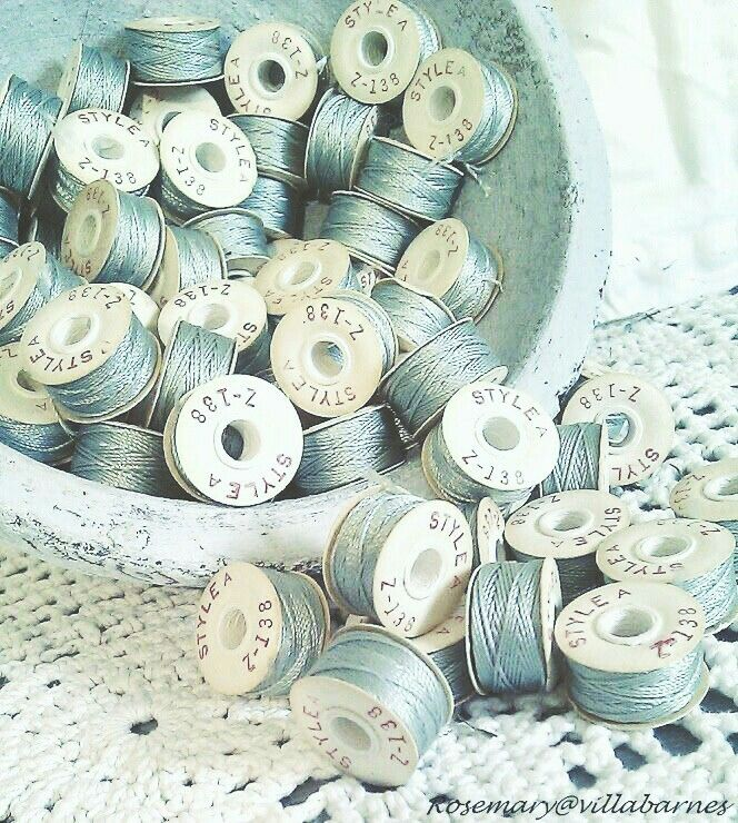 Bobbins of Duck Egg Blue Thread