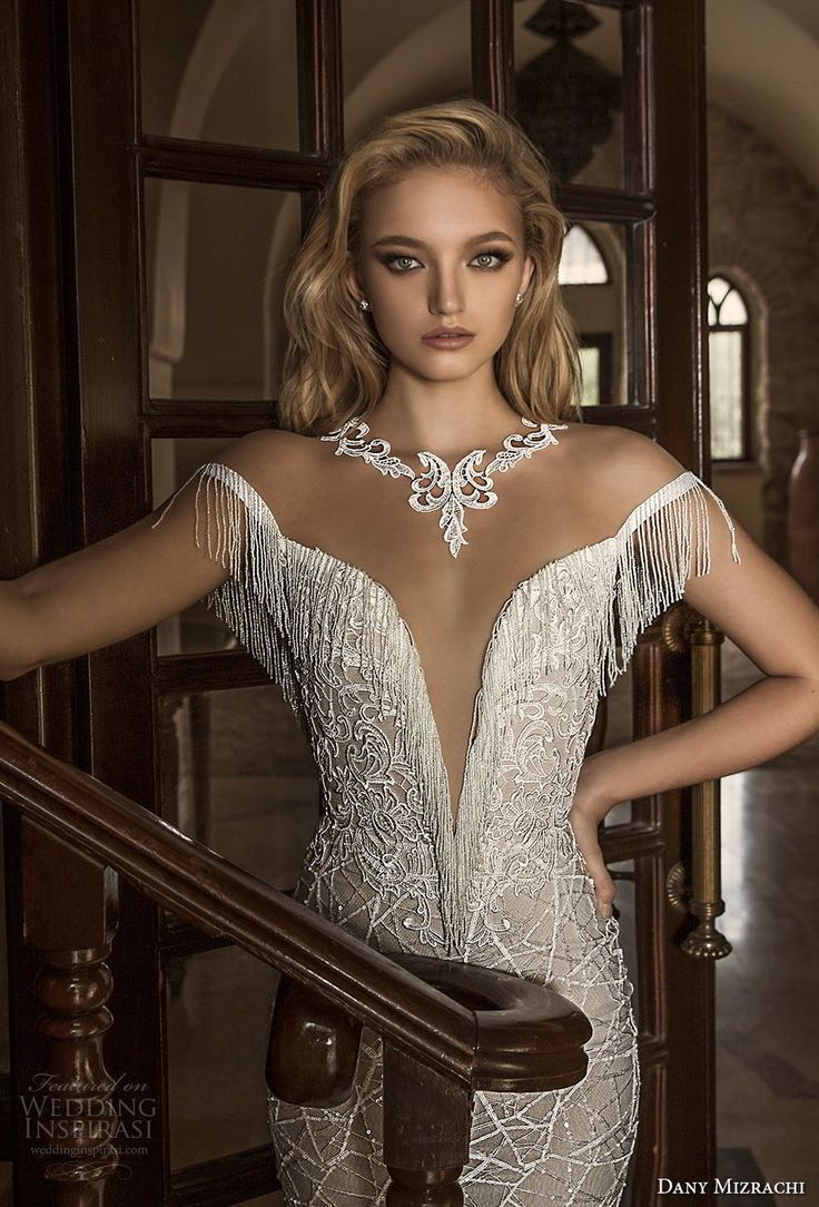 dany mizrachi spring 2018 bridal off the shoulder deep plunging v neck full embellishment elegant fit and flare wedding dress open v back chapel train (24) zv -- Dany Mizrachi Spring 2018 Wedding Dresses