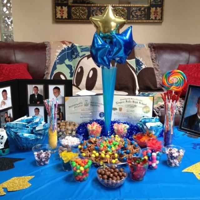 candy table blue and yellow themed for high school grad party very proud
