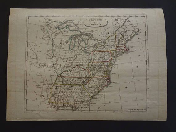 USA antique map 200 years old map of the United States