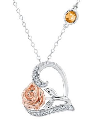 Disney Discovery- Belle's Enchanted Rose and Heart Diamond Pendant