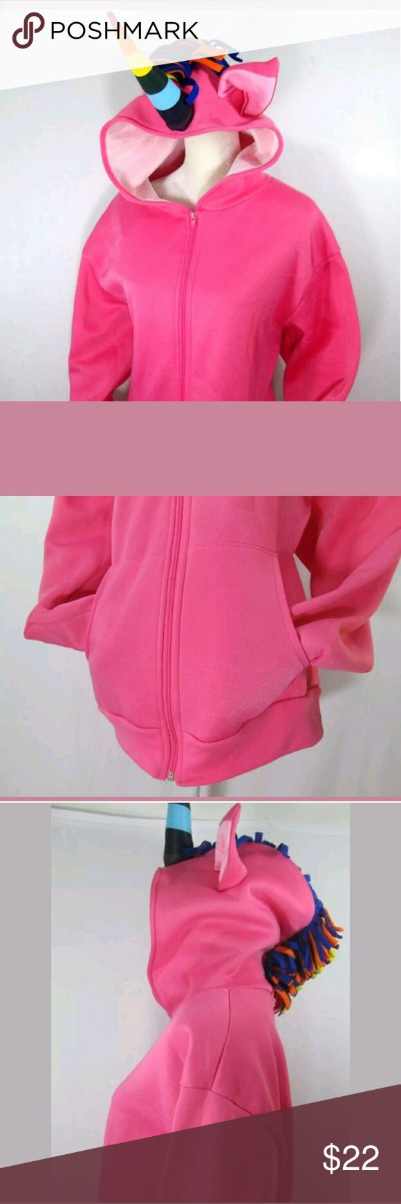 """Unicorn PINK Hoodie Sweatshirt Adult Costume large Unicorn PINK Hoodie Zip Up Sweatshirt Adult Costume  by Rasta Imposta  Size Large  Front Pockets  Cute ears on hood  Horn and mane bright multi colors  Zips up  Hoodie has never been worn. There is a little spot on the shoulder (please see picture) Otherwise its in great condition!  Measurements:  arms: 25""""  Length: 27.5""""  armpit to armpit: 24""""  Please ask any questions.  Thanks for looking! Other"""
