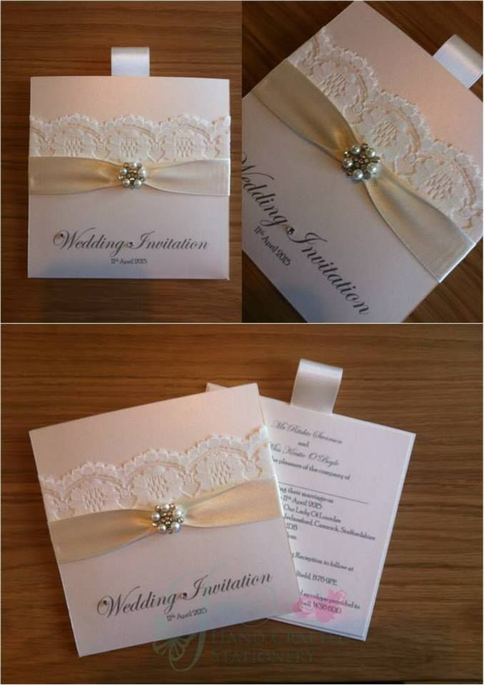 Ivory wallet wedding invitation with diamant and pearl for Pearl wedding invitations