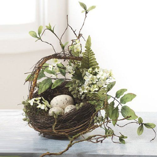 Grapevine, Fern & Leaves Song Bird Nest Basket with 3 Eggs Decorative, 9 Inches Rhode Island Novelty