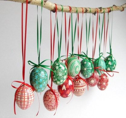Red Eggs ornaments decorated Eggs set of 6 by UkrainianEasterEggs, $85.00