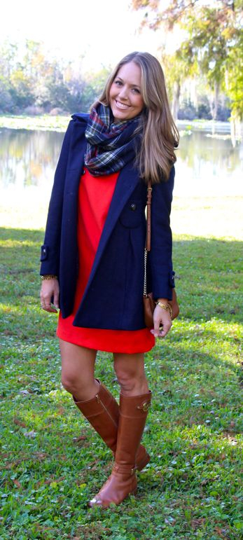 Today 39 S Everyday Fashion The Red Dress Navy Coat Plaid And Scarves