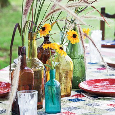 Wildflowers in Vases - Southern Plate Sunday Dinner Recipes - Southern Living