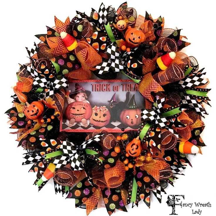 little witch halloween wreath trick or treat deco mesh wreath halloween candy corn decor - Halloween Candy Wreath