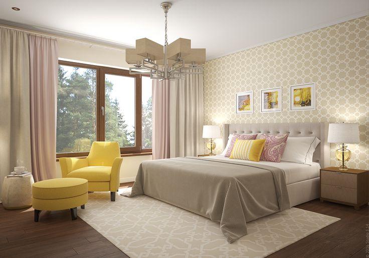 Вторая спальня в подмосковном доме для гостей семьи.