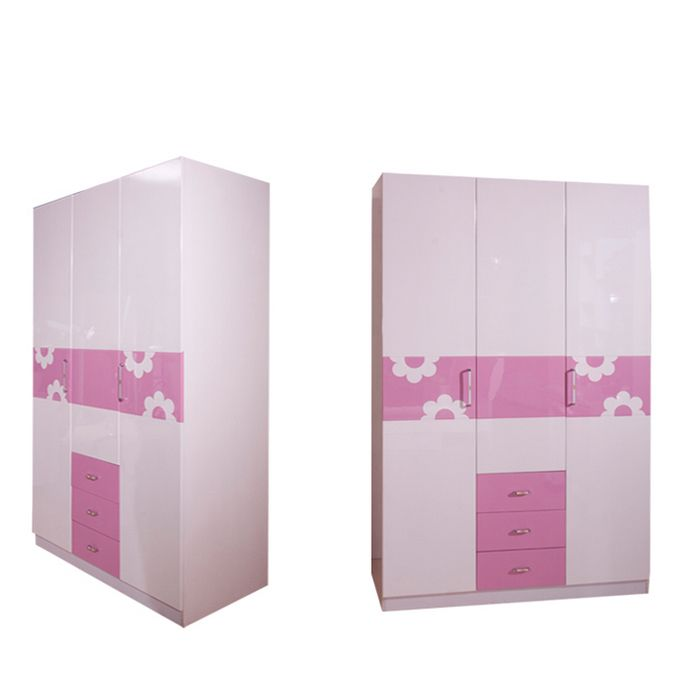 Розовый шкаф с рисунком цветка и выдвижными ящиками купить для ребенка в комнату в интернет-магазине мебели https://lafred.ru/catalog/catalog/detail/37532989644/