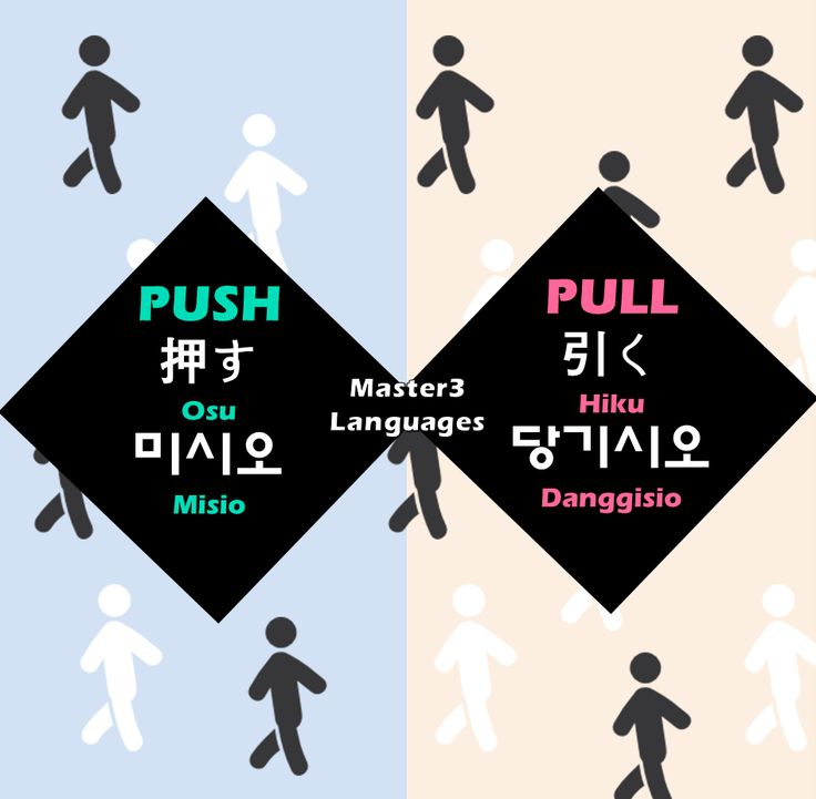 Push & Pull - Korean and Japanese Words #Master3Languages #Korean #Japanese #English #koreansign #japanesesign #language #learning