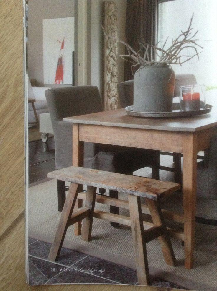 Mooi kleed onder de eettafel wonen landelijke stijl bijzonder landelijk wonen pinterest - Tapijt onder de eettafel ...