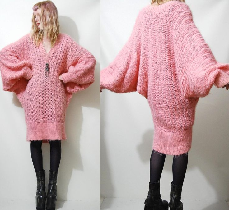 FLUFFY 80s Vintage Sweater Dress Long slouchy by cruxandcrow