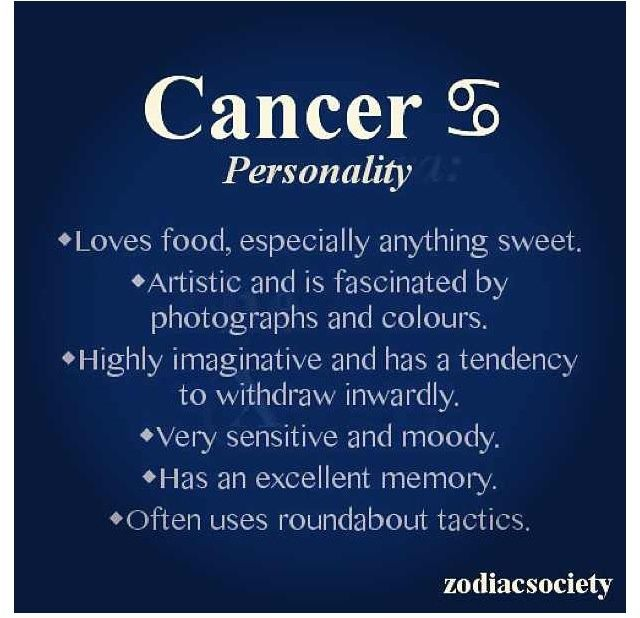 Cancer personality. Withdrawing inwardly (esp after hurt or loss ...