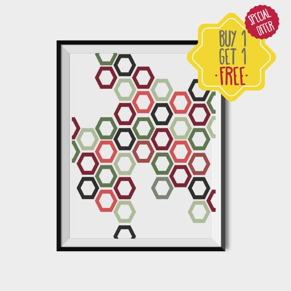 Green Red Poster, Green Red geometric art, Polygons printable decor, Nordic colorful wall art, Office decoration, Printable shapes color art
