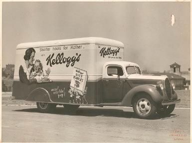 Kellogg's Van for A.H. Peters at Sydney University. Date unknown Photo by Milton Kent State Library of NSW