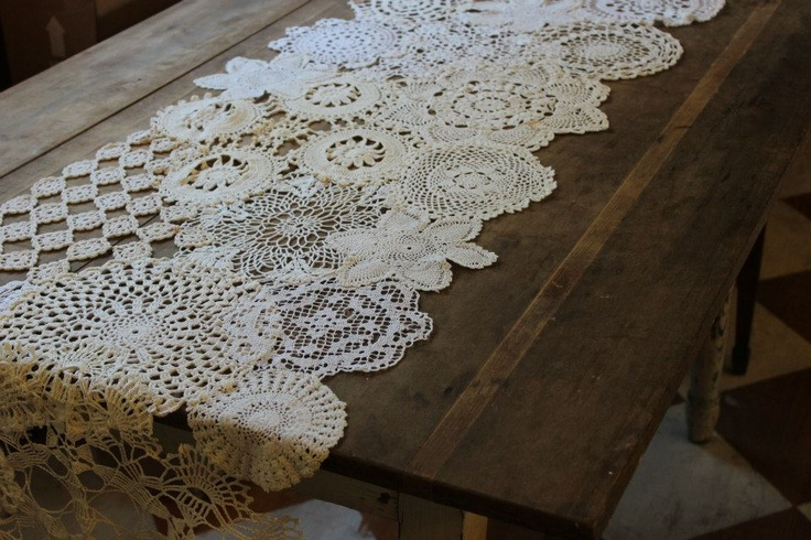 runner made from estate sale doilies...