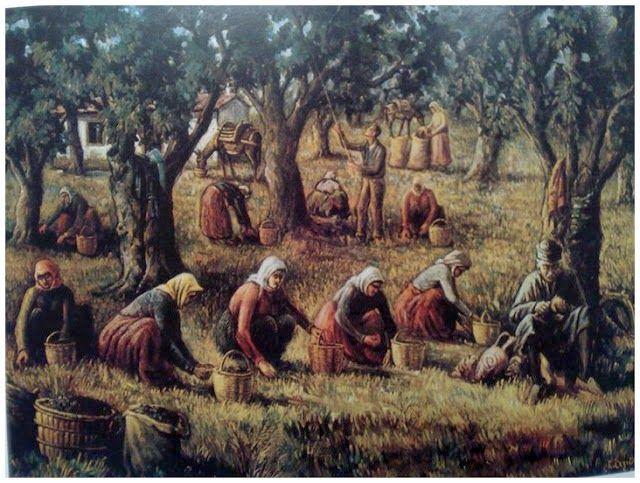 Gathering olives, Stratis Axiotis  (1907-1994)