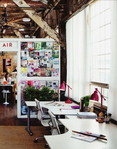 double desk space and inspiration wall