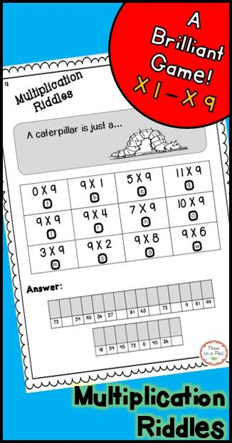 Make learning multiplication interesting using riddles. Students solve the problem, and write the corresponding letter above the number below. When they finish, they will have the answer to the riddle.