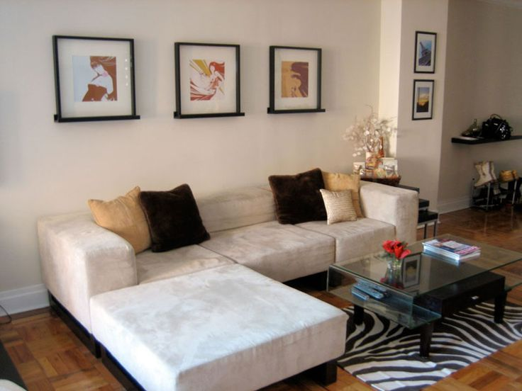 Living room area in a 541 sq.ft. NYC studio apt.
