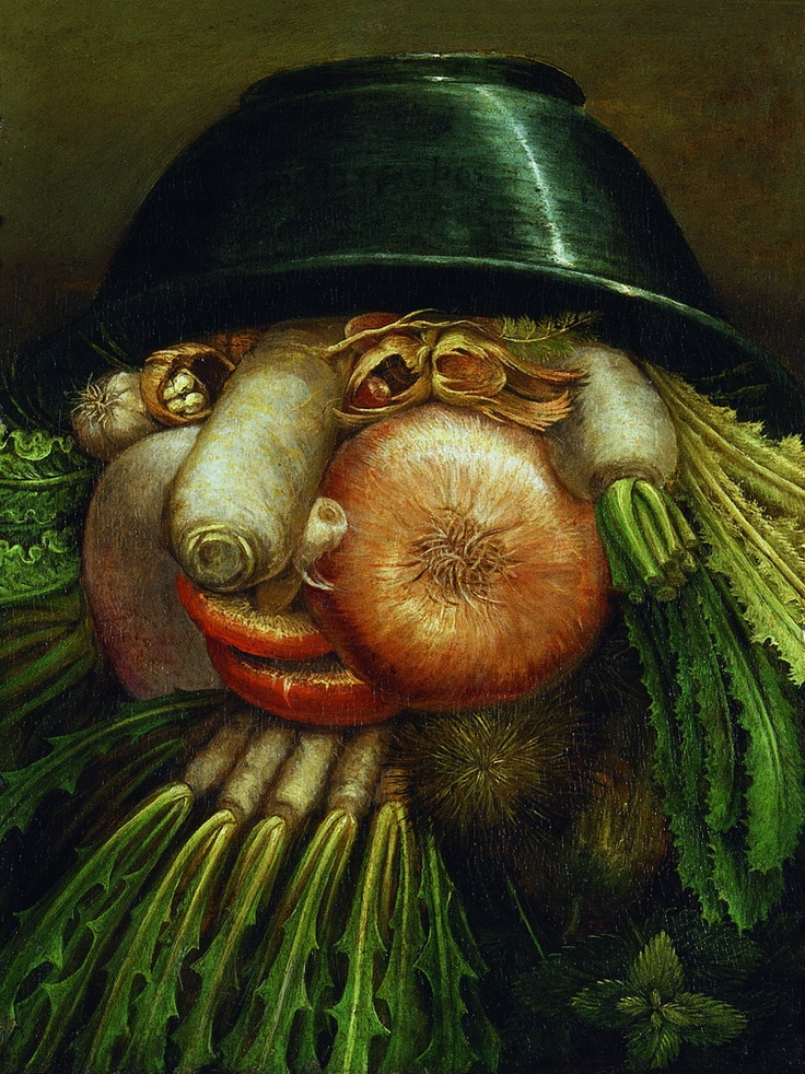 The attest has really thought about the character in this painting and you feel like you can gage a lot of information about the character. His eyes look tired, he looks hard working, yet has an expression of content on his face. The attest has also though about the natural shapes of the veg along with colour.