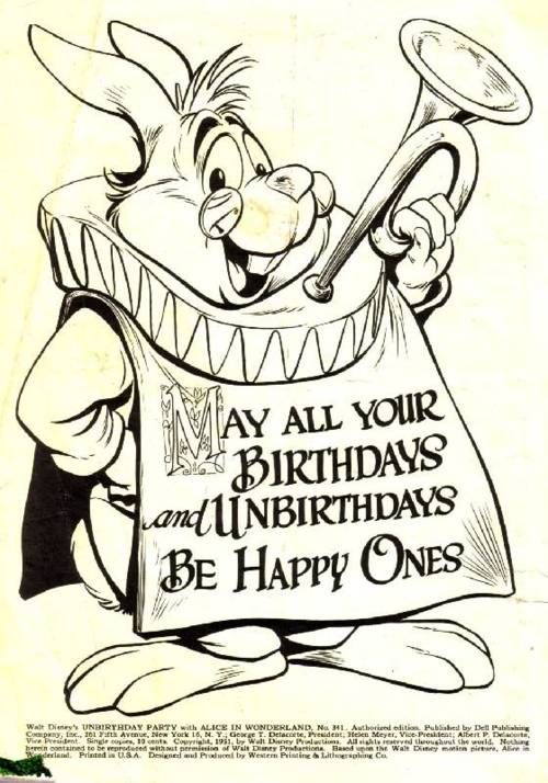 """Disney's Unbirthday Party: """"May all your birthdays and unbirthdays be happy ones."""""""