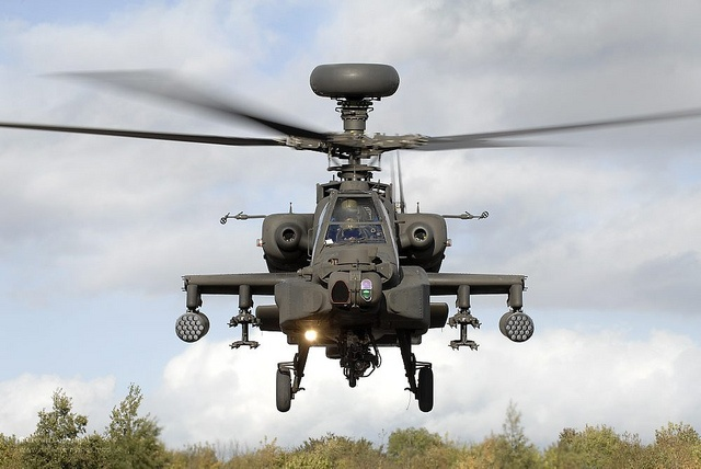 An Army Air Corps Apache attack helicopter takes off during an exercise on the Barton Stacey Training Area (BSTA) near Winchester.