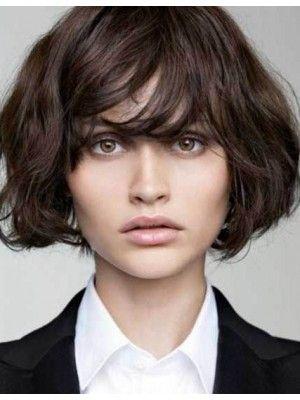 Scharmant Braun Kurz Remy Echthaar Perücken (Beauty Hairstyles Hot Haircuts)