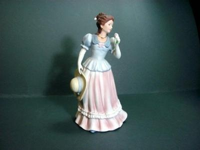 Vintage homco home interiors lady camilla 1452 figurine pink skirt blue blouse