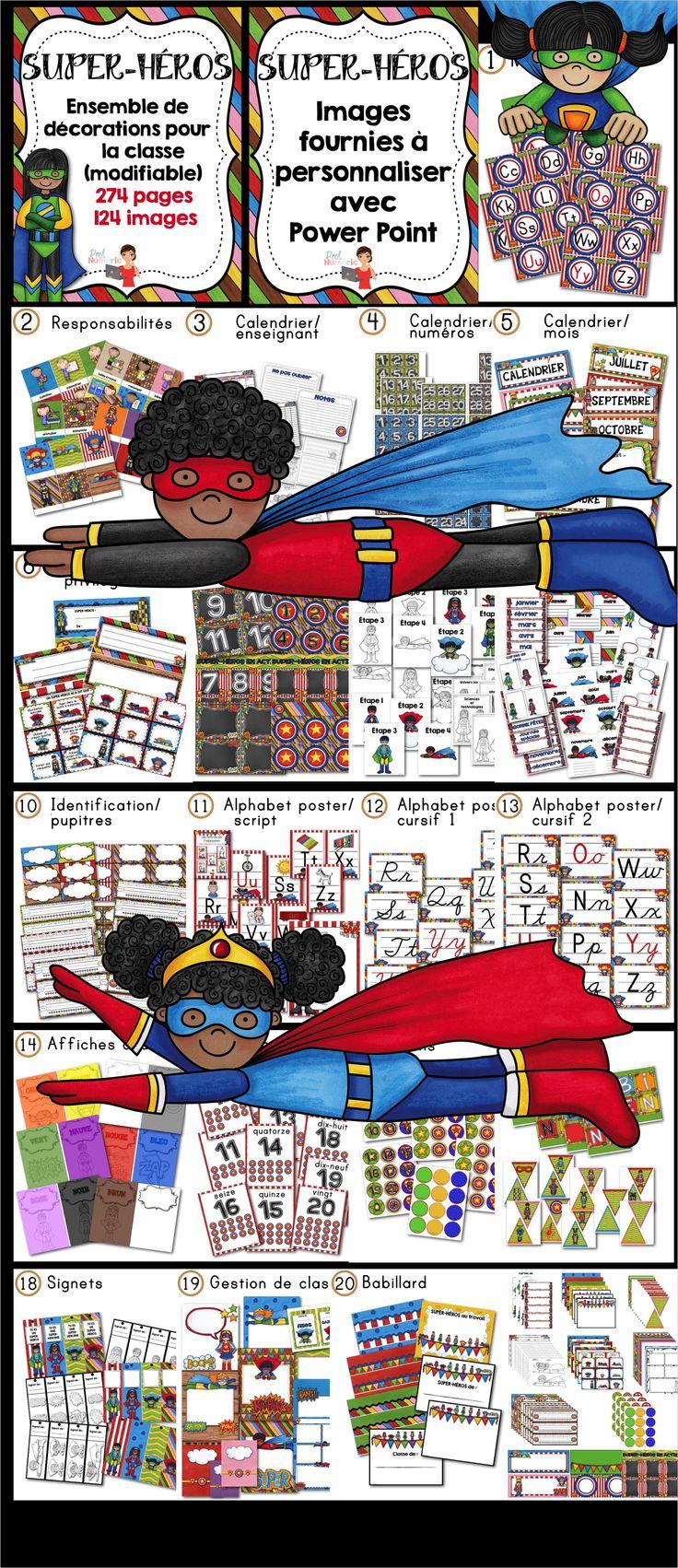 Décorations de classe SUPER-HÉROS (20 fichiers PDF) + images à personnaliser (274 pages + 124 images). Mur des mots, alphabet, nombres, affiches pupitre, portfolio, bannière, signets, etc.