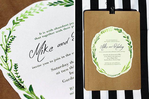 Leo & Ness | Wedding + Event Stationery | Watercolour Wreath on Cream card - Romantic Ethereal Invitation