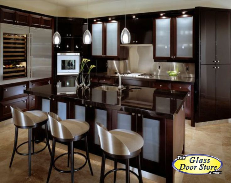 Dark Modern Kitchen Cabinets With Frosted Glass In The Cabinet Doors Looks Clean And Minimilist