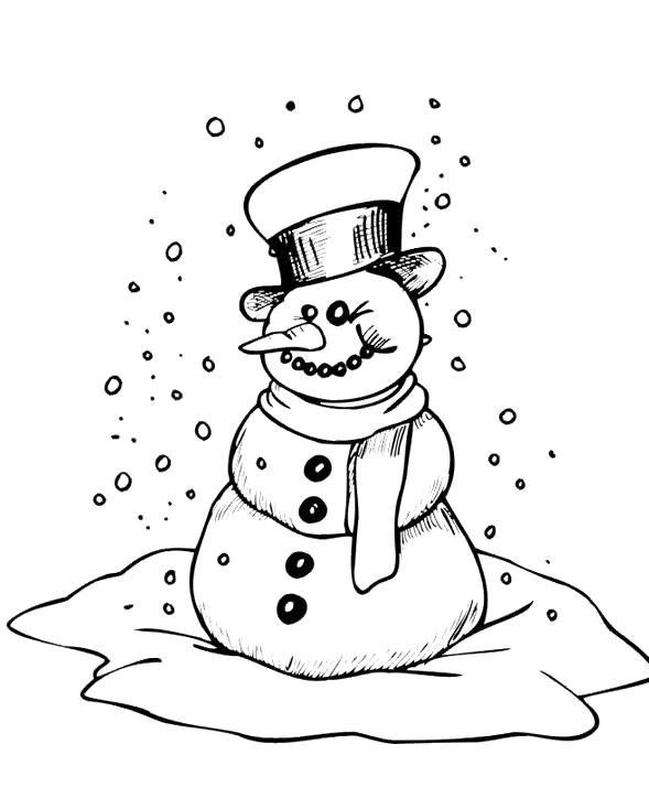 Frosty Snowman In The Rain Snow Coloring For Kids