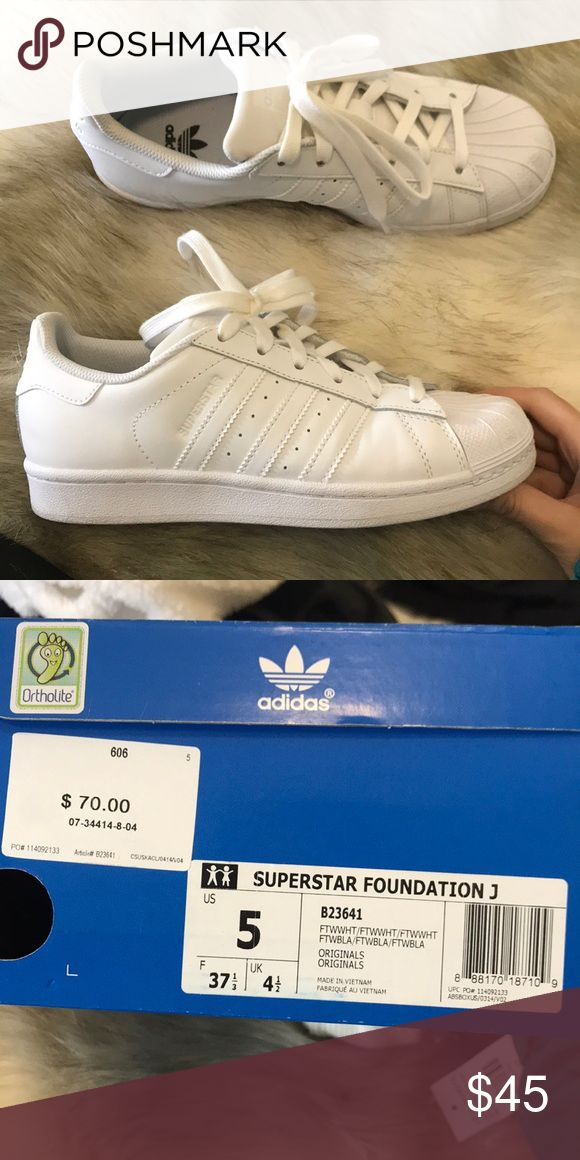 Adidas superstars Worn once all white adidas superstars in a kids 5 which is a woman's 6.5 adidas Shoes Lace Up Boots