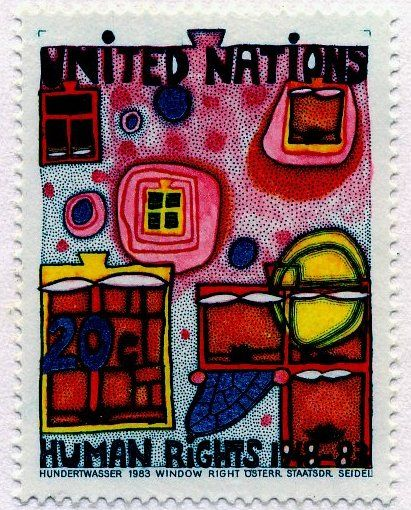 United Nations Human Rights stamp by Hundertwasser, 1983