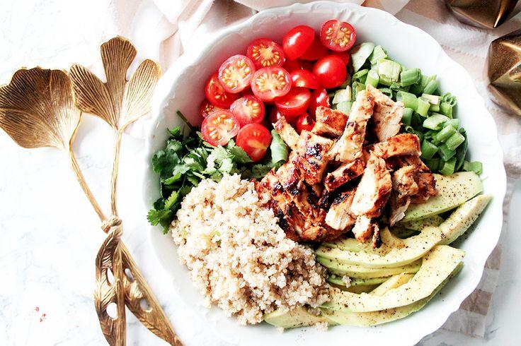 Une salade composée au poulet au miel pour un repas sain et arrêter les sandwichs le midi !