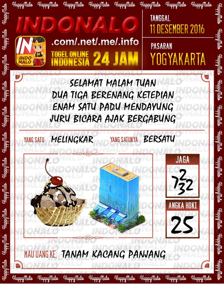 Lotre Kop 4D Togel Wap Online Live Draw 4D Indonalo Yogyakarta 11 Desember 2016