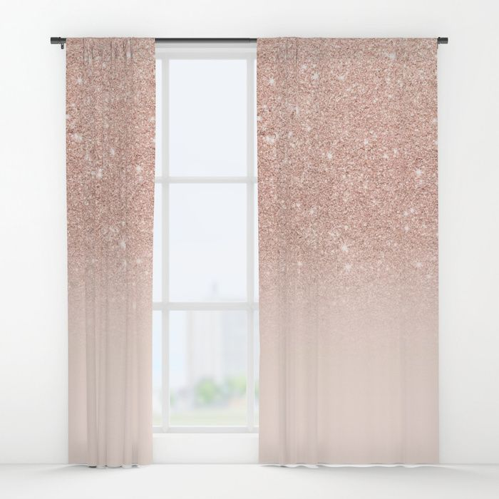 Buy Rose Gold Faux Glitter Pink Ombre Color Block Window Curtains