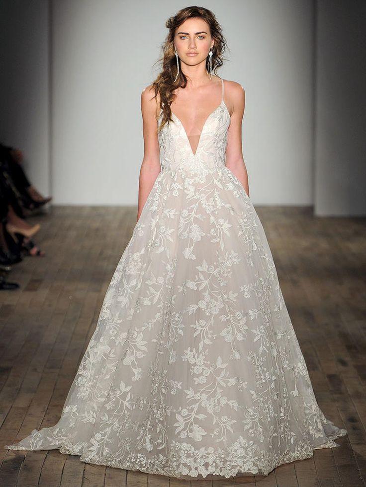 V-Neck Spaghetti Strap Slim Wedding Dress with Shimmering Lace Embroidery | Jim Hjelm Spring 2018
