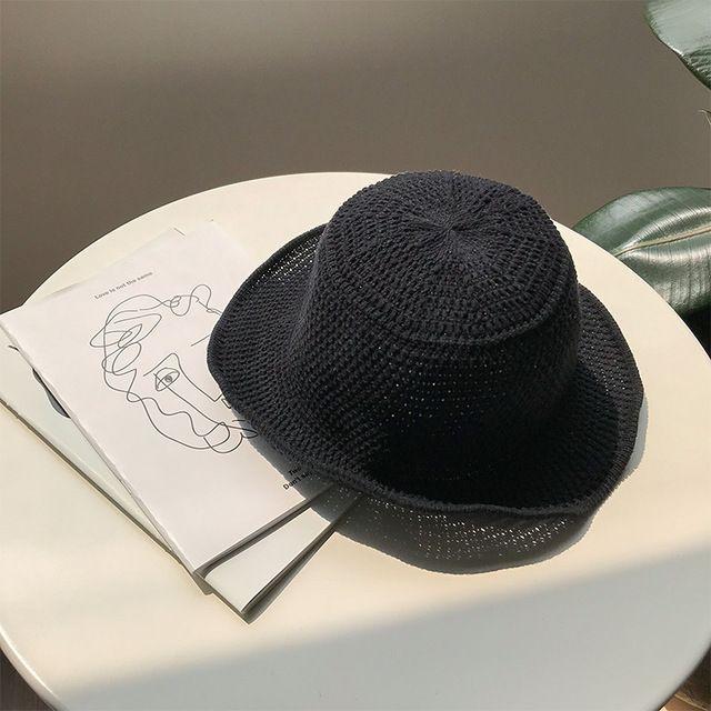 Japanese Hand Woven Straw Hat Women Black Hat Korea Tall Satin Weave Bucket Hat Women Summer Knit Bucket Hat Summer Knitting Straw Hat Bucket Hat Women