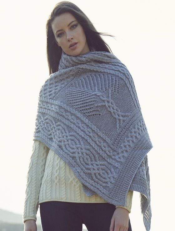 Celtic Fairy Tree Cable Knit Shawl - Soft Grey in 2020 ...