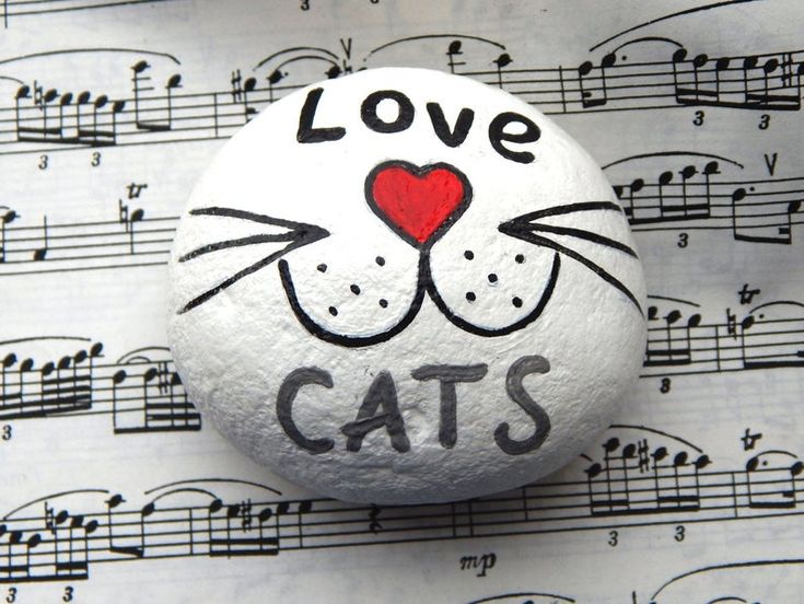 Love Cats Hand Painted Stone , Cats Lover Gift, Painted Rocks Animals, Stone Keepsake, Rock Art, Cat Art, Stones Charm, Acrylic Art Object – Rock Painting