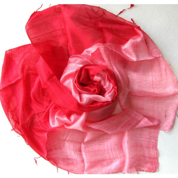 Silk Shawl Hand Woven Pure Raw Silk Accessories Wedding Shawl Bridesmaid Gift For Her Red Pink Hand Dyed Wedding Gift Handmade Accessories (€21) found on Polyvore featuring women's fashion, accessories, scarves, planetearthhandmade, lightweight scarves, lightweight shawl, braided scarves, red silk scarves and woven scarves