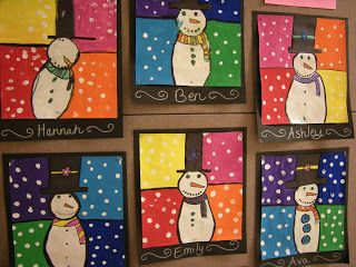 Artolazzi: Warm/Cool Snowmen Paintings  Good idea for winter camp projects.