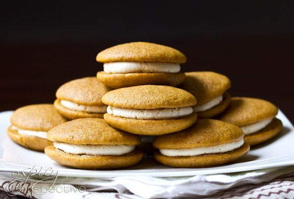 Pumpkin Whoopie Pies (I plan on adding a little cardamom to the filling, yum!)